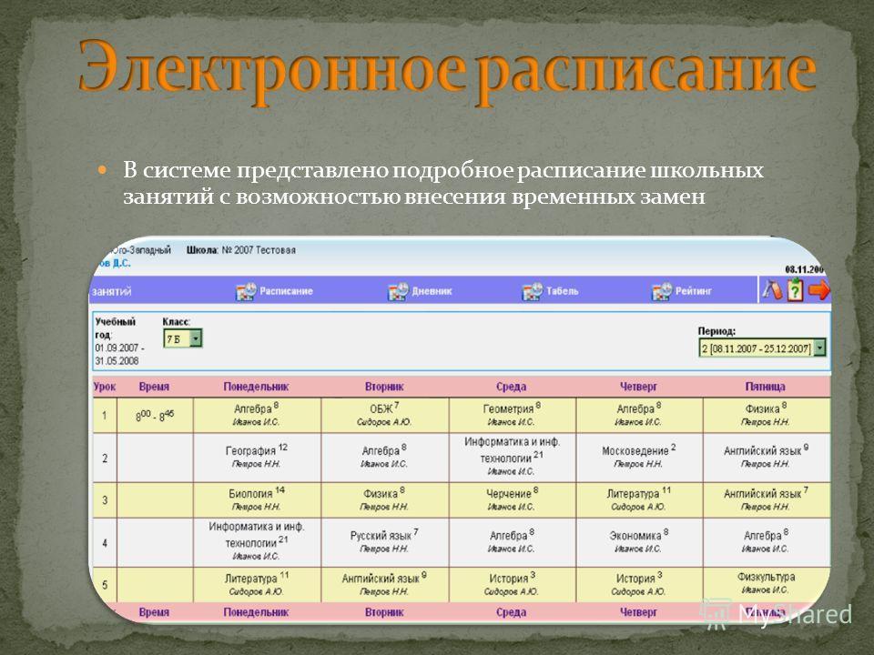 В системе представлено подробное расписание школьных занятий с возможностью внесения временных замен