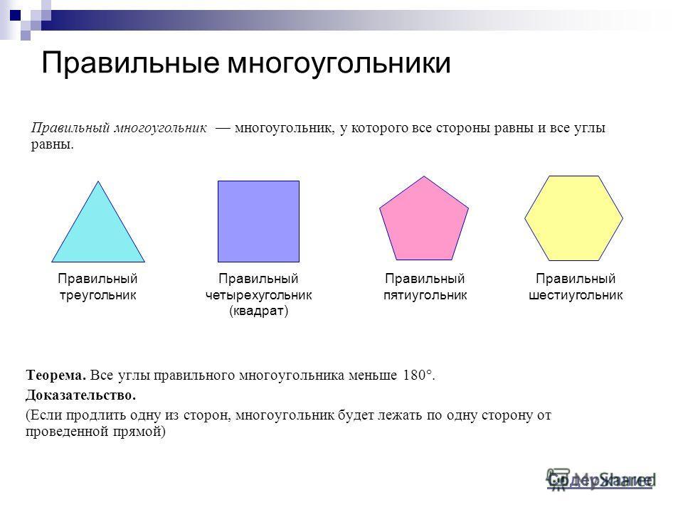 Правильные многоугольники Теорема. Все углы правильного многоугольника меньше 180°. Доказательство. (Если продлить одну из сторон, многоугольник будет лежать по одну сторону от проведенной прямой) Правильный многоугольник многоугольник, у которого вс