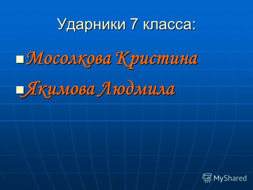 Ударники 7 класса: Мосолкова Кристина Мосолкова Кристина Якимова Людмила Якимова Людмила