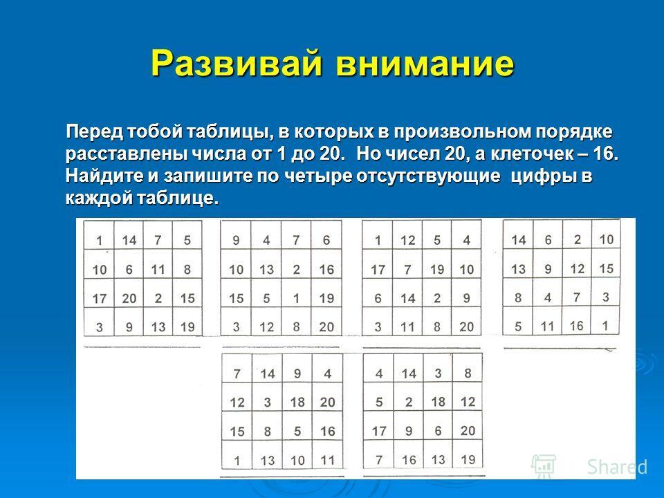 Развивай внимание Перед тобой таблицы, в которых в произвольном порядке расставлены числа от 1 до 20. Но чисел 20, а клеточек – 16. Найдите и запишите по четыре отсутствующие цифры в каждой таблице. Перед тобой таблицы, в которых в произвольном поряд