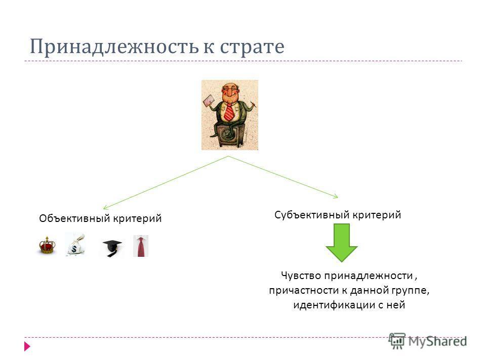 Принадлежность к страте Объективный критерий Субъективный критерий Чувство принадлежности, причастности к данной группе, идентификации с ней
