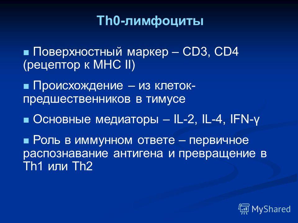 Th0-лимфоциты Поверхностный маркер – СD3, CD4 (рецептор к МНС II) Происхождение – из клеток- предшественников в тимусе Основные медиаторы – IL-2, IL-4, IFN-γ Роль в иммунном ответе – первичное распознавание антигена и превращение в Th1 или Th2