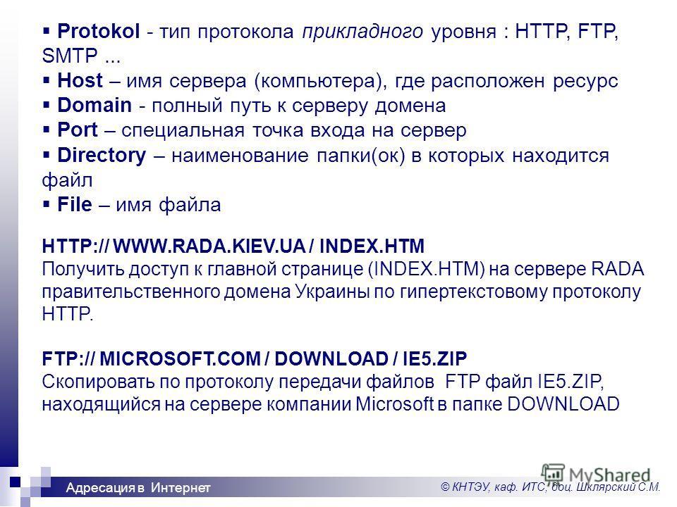© КНТЭУ, каф. ИТС, доц. Шклярский С.М. Адресация в Интернет Protokol - тип протокола прикладного уровня : HTTP, FTP, SMTP... Host – имя сервера (компьютера), где расположен ресурс Domain - полный путь к серверу домена Port – специальная точка входа н