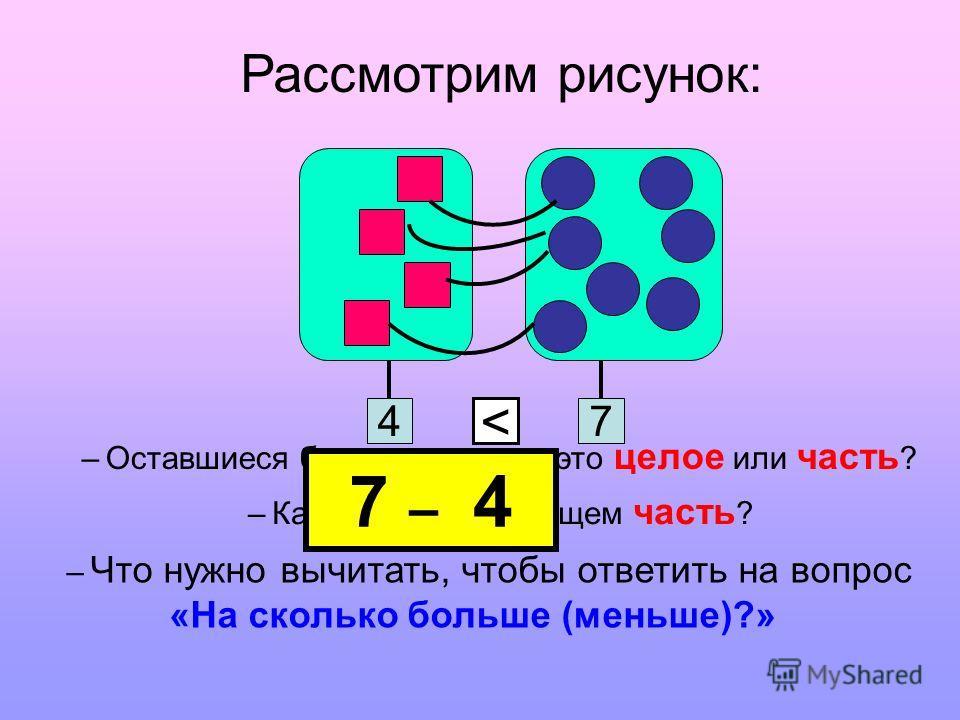 47 < Рассмотрим рисунок: – Оставшиеся без пары круги – это целое или часть ? – Каким действием ищем часть ? – Что нужно вычитать, чтобы ответить на вопрос «На сколько больше (меньше)?» 7 – 4