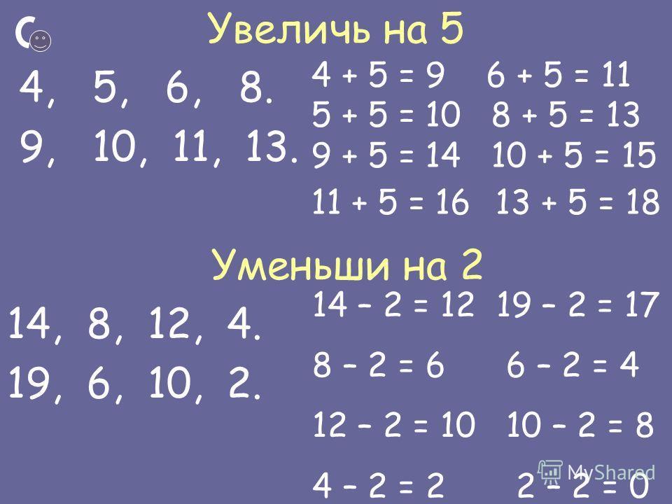 Увеличь на 5 4, 5, 6, 8. 9, 10, 11, 13. Уменьши на 2 14, 8, 12, 4. 19, 6, 10, 2. 4 + 5 = 9 6 + 5 = 11 5 + 5 = 10 8 + 5 = 13 9 + 5 = 14 10 + 5 = 15 11 + 5 = 16 13 + 5 = 18 14 – 2 = 12 19 – 2 = 17 8 – 2 = 6 6 – 2 = 4 12 – 2 = 10 10 – 2 = 8 4 – 2 = 2 2