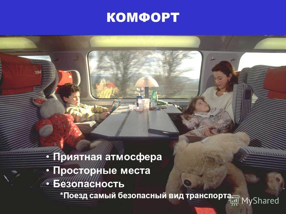 Приятная атмосфера Просторные места Безопасность *Поезд самый безопасный вид транспорта. КОМФОРТ