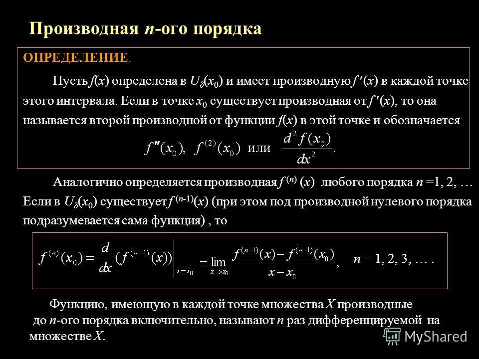 Производная n-ого порядка ОПРЕДЕЛЕНИЕ. Пусть f(x) определена в U (x 0 ) и имеет производную f (x) в каждой точке этого интервала. Если в точке х 0 существует производная от f (x), то она называется второй производной от функции f(x) в этой точке и об