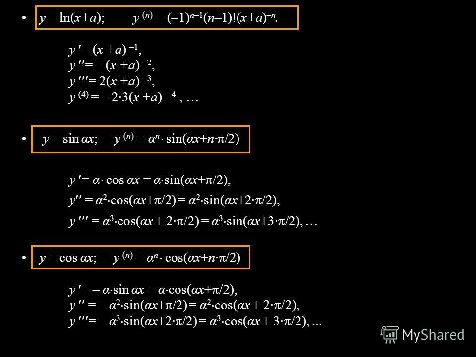 y = ln(x+а); y (n) = (–1) n–1 (n–1)!(x+а) –n. y = (x +а) –1, y = – (x +а) –2, y = 2(x +а) –3, y (4) = – 2·3(x +а) – 4, … y = sin αx; y (n) = α n sin(αx+n· /2) y = α cos αx = α sin(αx+ /2), y = α 2 cos(αx+ /2) = α 2 sin(αx+2· /2), y = α 3 cos(αx + 2·