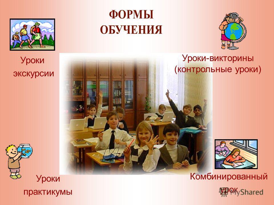 Уроки-викторины (контрольные уроки) Уроки практикумы Уроки экскурсии Комбинированный урок
