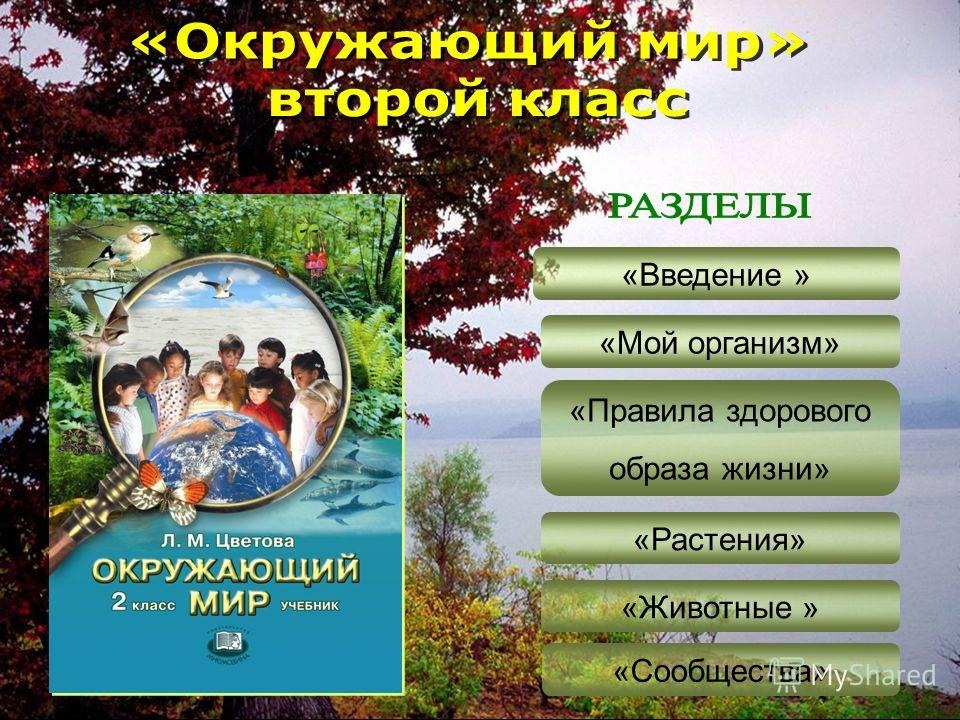 «Введение » «Мой организм» «Правила здорового образа жизни» «Растения» «Животные » «Сообщества»