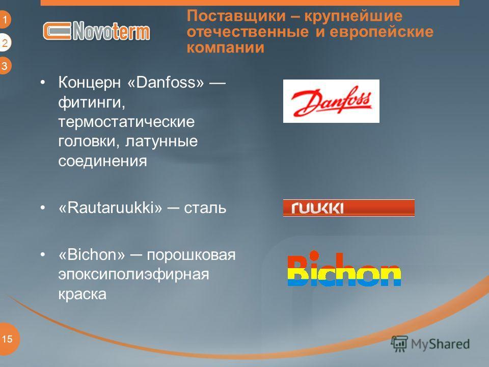 1 2 3 15 Поставщики – крупнейшие отечественные и европейские компании Концерн «Danfoss» фитинги, термостатические головки, латунные соединения «Rautaruukki» сталь «Bichon» порошковая эпоксиполиэфирная краска 2