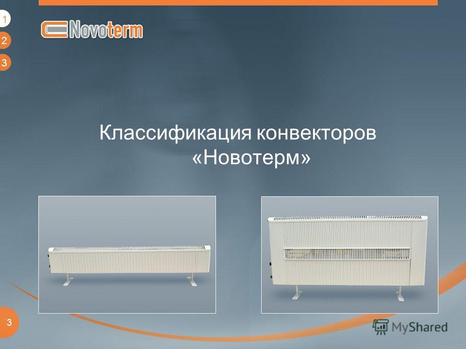 1 2 3 3 Классификация конвекторов «Новотерм» 1