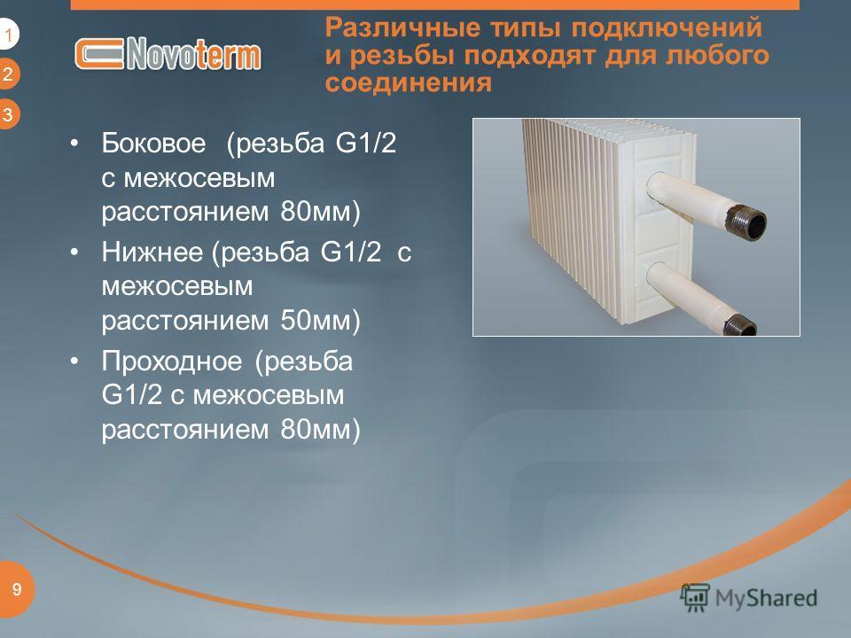 1 2 3 9 Различные типы подключений и резьбы подходят для любого соединения Боковое (резьба G1/2 с межосевым расстоянием 80мм) Нижнее (резьба G1/2 с межосевым расстоянием 50мм) Проходное (резьба G1/2 с межосевым расстоянием 80мм) 1
