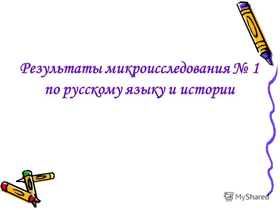 Результаты микроисследования 1 по русскому языку и истории