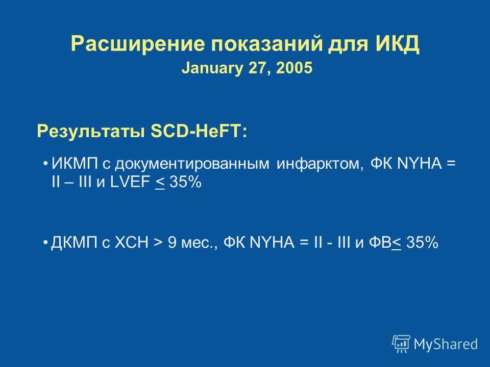 Расширение показаний для ИКД January 27, 2005 Результаты SCD-HeFT: ИКМП с документированным инфарктом, ФК NYHA = II – III и LVEF < 35% ДКМП с ХСН > 9 мес., ФК NYHA = II - III и ФВ< 35%