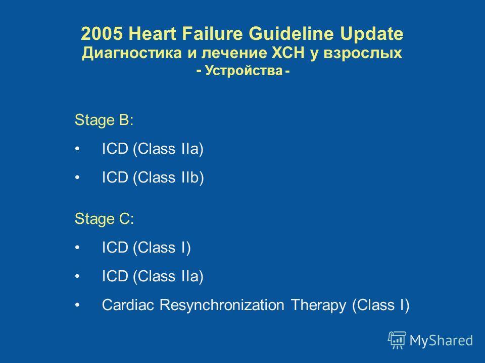 Stage B: ICD (Class IIa) ICD (Class IIb) Stage C: ICD (Class I) ICD (Class IIa) Cardiac Resynchronization Therapy (Class I) 2005 Heart Failure Guideline Update Диагностика и лечение ХСН у взрослых - Устройства -