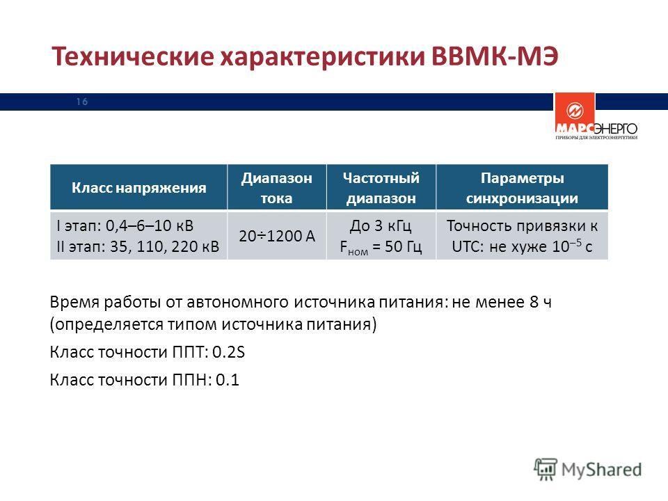 Технические характеристики ВВМК-МЭ 16 Класс напряжения Диапазон тока Частотный диапазон Параметры синхронизации I этап: 0,4–6–10 кВ II этап: 35, 110, 220 кВ 20÷1200 А До 3 кГц F ном = 50 Гц Точность привязки к UTC: не хуже 10 –5 с Время работы от авт