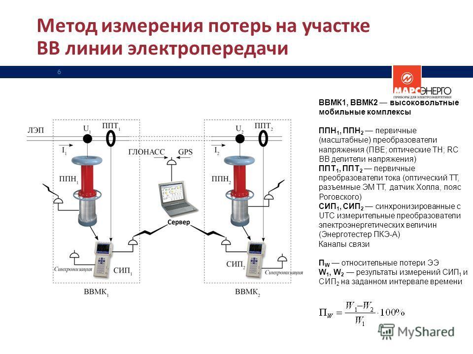 Метод измерения потерь на участке ВВ линии электропередачи 6 ВВМК1, ВВМК2 высоковольтные мобильные комплексы ППН 1, ППН 2 первичные (масштабные) преобразователи напряжения (ПВЕ; оптические ТН; RC ВВ делители напряжения) ППТ 1, ППТ 2 первичные преобра