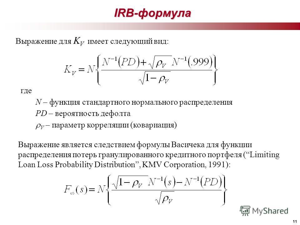 11 IRB-формула Выражение для K V имеет следующий вид: где N – функция стандартного нормального распределения PD – вероятность дефолта V – параметр корреляции (ковариация) Выражение является следствием формулы Васичека для функции распределения потерь