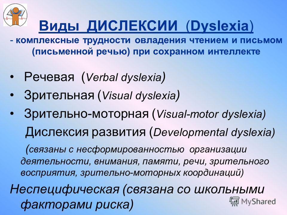 Виды ДИСЛЕКСИИ (Dyslexia) - комплексные трудности овладения чтением и письмом (письменной речью) при сохранном интеллекте Речевая ( Verbal dyslexia ) Зрительная ( Visual dyslexia ) Зрительно-моторная ( Visual-motor dyslexia) Дислексия развития ( Deve