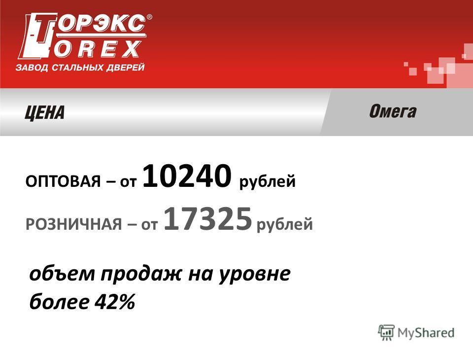 ОПТОВАЯ – от 10240 рублей РОЗНИЧНАЯ – от 17325 рублей объем продаж на уровне более 42%