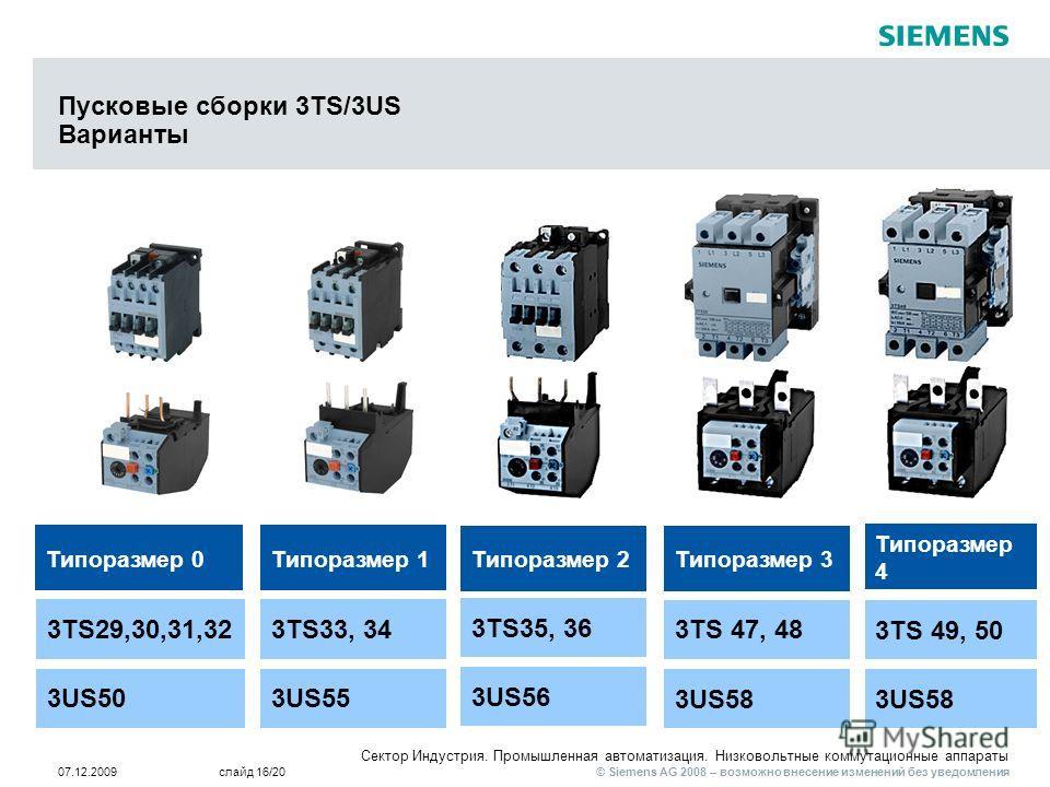 © Siemens AG 2008 – возможно внесение изменений без уведомления Сектор Индустрия. Промышленная автоматизация. Низковольтные коммутационные аппараты 07.12.2009слайд 16/20 Пусковые сборки 3TS/3US Варианты Типоразмер 0Типоразмер 1 3US503US55 3TS29,30,31