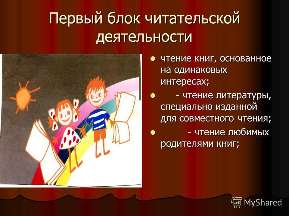 Первый блок читательской деятельности чтение книг, основанное на одинаковых интересах; - - чтение литературы, специально изданной для совместного чтения; чтение любимых родителями книг;