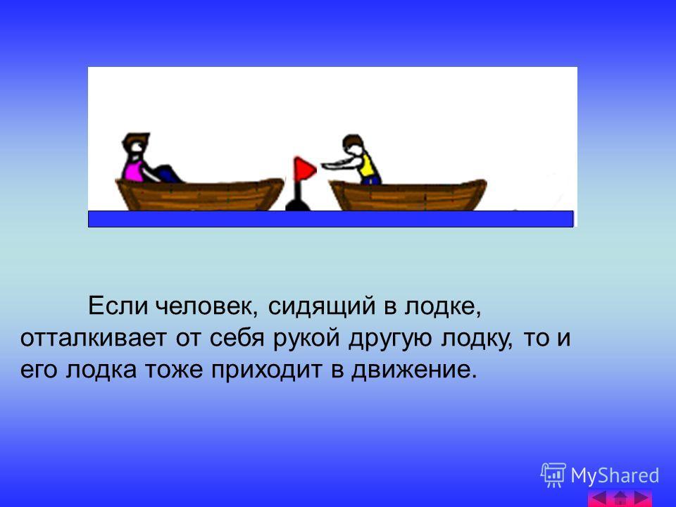 Если человек, сидящий в лодке, отталкивает от себя рукой другую лодку, то и его лодка тоже приходит в движение.