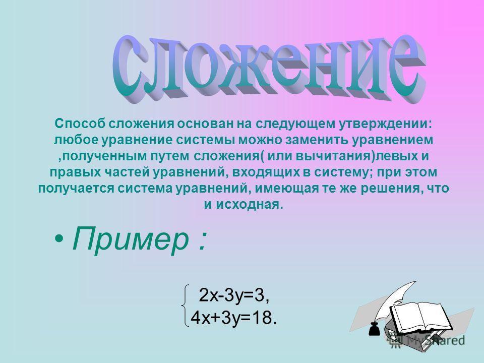 Пример : 2x-3y=3, 4x+3y=18. Способ сложения основан на следующем утверждении: любое уравнение системы можно заменить уравнением,полученным путем сложения( или вычитания)левых и правых частей уравнений, входящих в систему; при этом получается система