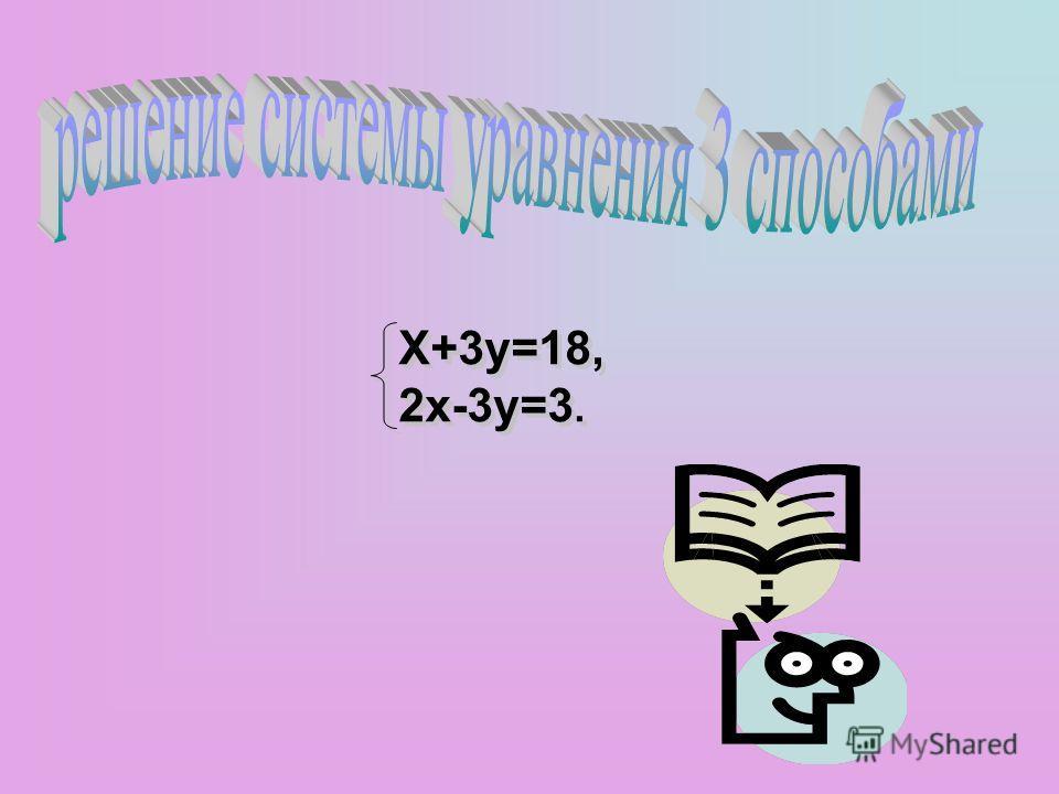 X+3y=18, 2x-3y=3. X+3y=18, 2x-3y=3.