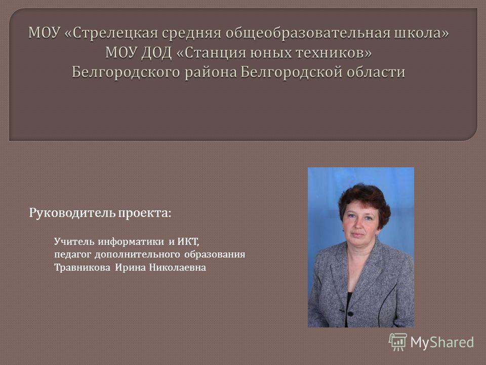 Руководитель проекта : Учитель информатики и ИКТ, педагог дополнительного образования Травникова Ирина Николаевна