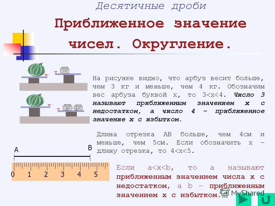 22 Десятичные дроби Приближенное значение чисел. Округление. На рисунке видно, что арбуз весит больше, чем 3 кг и меньше, чем 4 кг. Обозначим вес арбуза буквой х, то 3