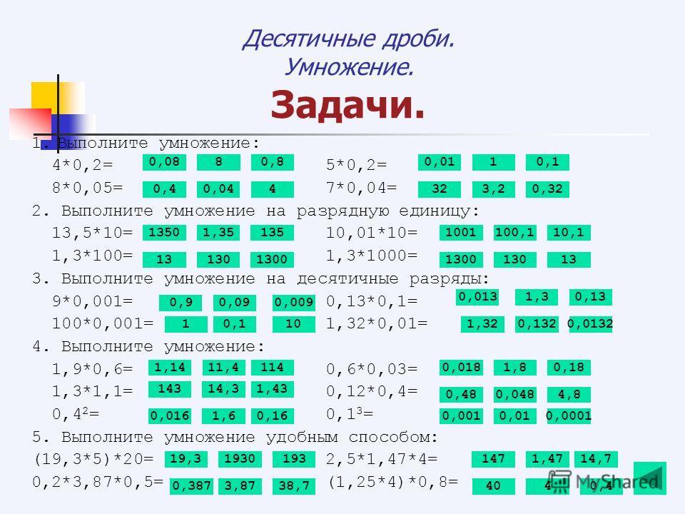 Десятичные дроби. Умножение. Задачи. 1.Выполните умножение: 4*0,2= 5*0,2= 8*0,05= 7*0,04= 2. Выполните умножение на разрядную единицу: 13,5*10= 10,01*10= 1,3*100= 1,3*1000= 3. Выполните умножение на десятичные разряды: 9*0,001= 0,13*0,1= 100*0,001= 1