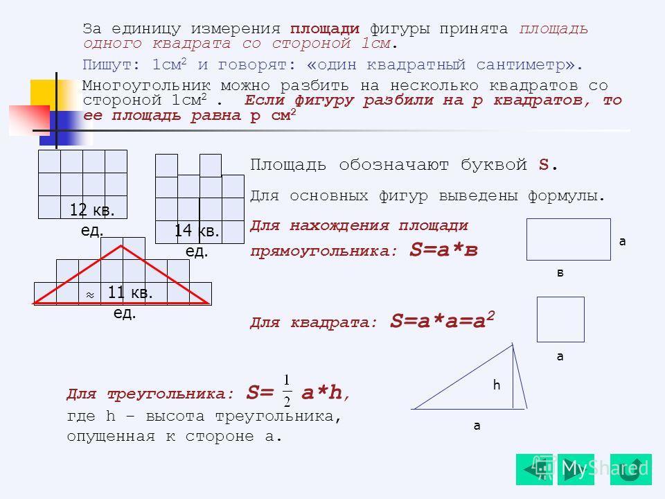 За единицу измерения площади фигуры принята площадь одного квадрата со стороной 1см. Пишут: 1см 2 и говорят: «один квадратный сантиметр». Многоугольник можно разбить на несколько квадратов со стороной 1см 2. Если фигуру разбили на р квадратов, то ее