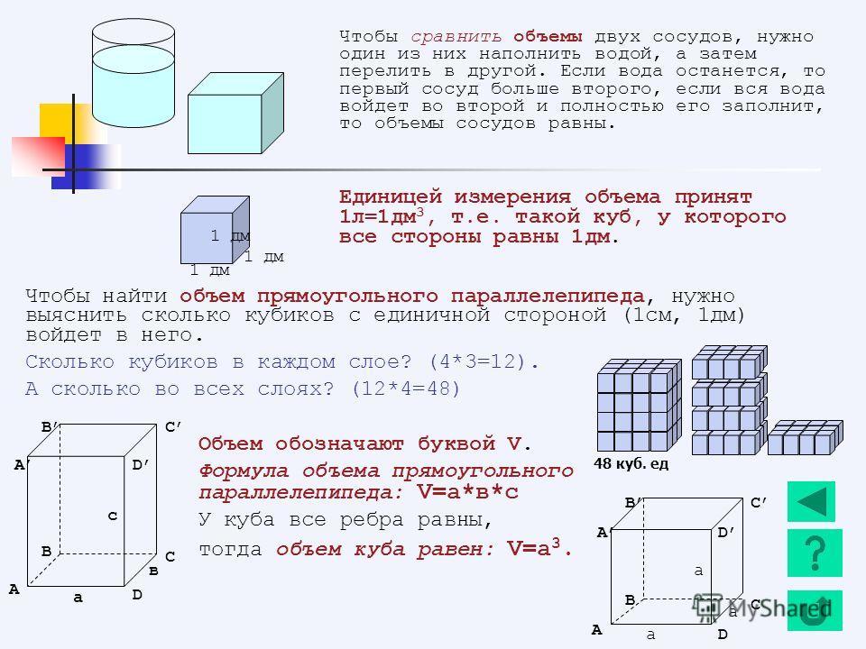 Чтобы найти объем прямоугольного параллелепипеда, нужно выяснить сколько кубиков с единичной стороной (1см, 1дм) войдет в него. Сколько кубиков в каждом слое? (4*3=12). А сколько во всех слоях? (12*4=48) Объем обозначают буквой V. Формула объема прям