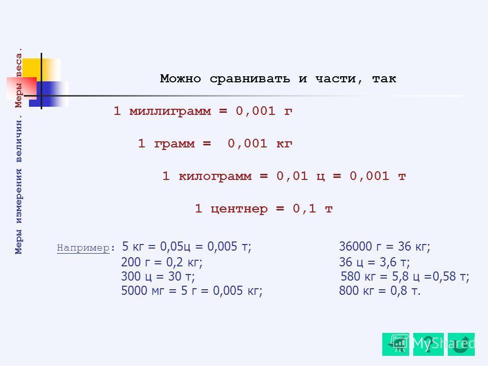 Например: 5 кг = 0,05ц = 0,005 т; 36000 г = 36 кг; 200 г = 0,2 кг; 36 ц = 3,6 т; 300 ц = 30 т; 580 кг = 5,8 ц =0,58 т; 5000 мг = 5 г = 0,005 кг; 800 кг = 0,8 т. Меры измерения величин. Меры веса. Можно сравнивать и части, так 1 миллиграмм = 0,001 г 1