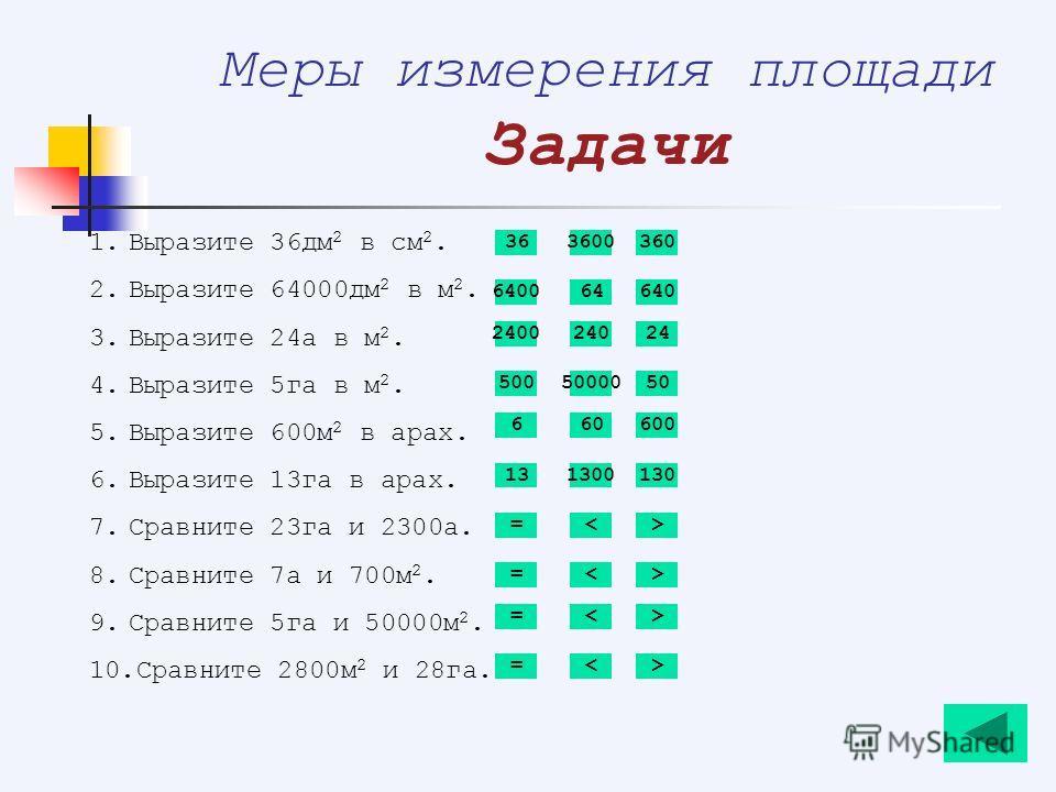Меры измерения площади Задачи 1.Выразите 36дм 2 в см 2. 2.Выразите 64000дм 2 в м 2. 3.Выразите 24а в м 2. 4.Выразите 5га в м 2. 5.Выразите 600м 2 в арах. 6.Выразите 13га в арах. 7.Сравните 23га и 2300а. 8.Сравните 7а и 700м 2. 9.Сравните 5га и 50000м