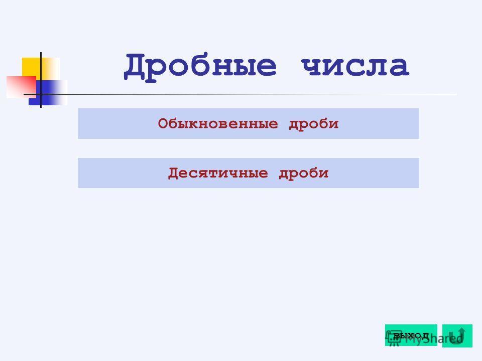Дробные числа Обыкновенные дроби Десятичные дроби выход