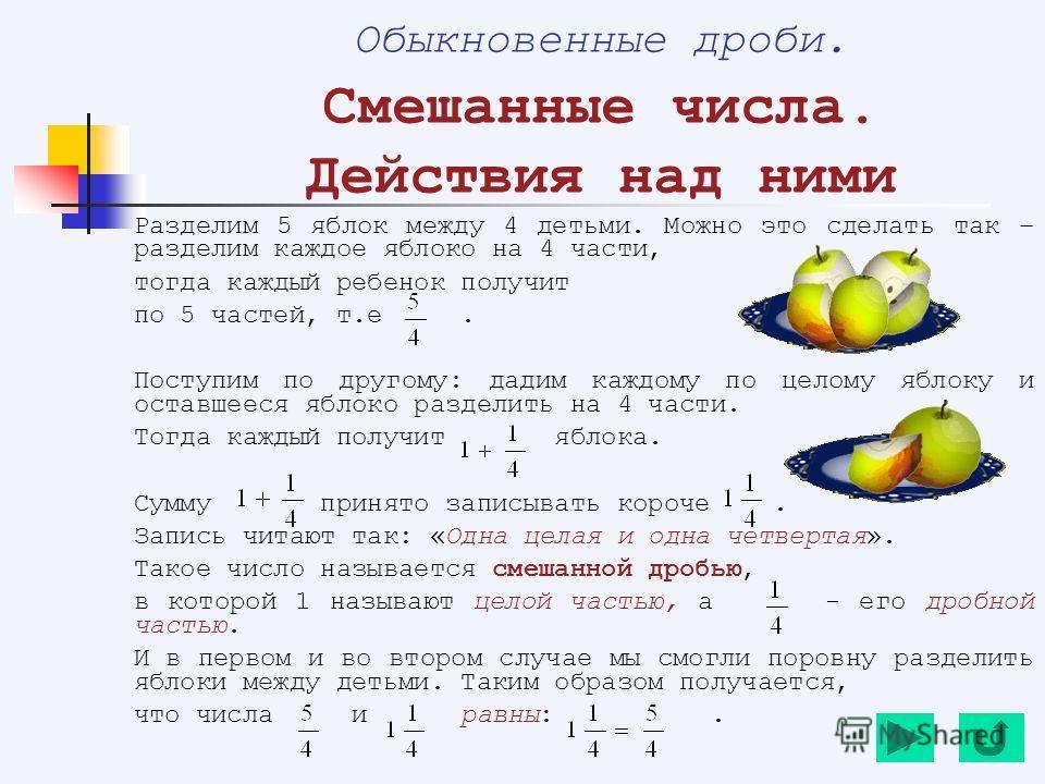 Разделим 5 яблок между 4 детьми. Можно это сделать так – разделим каждое яблоко на 4 части, тогда каждый ребенок получит по 5 частей, т.е. Поступим по другому: дадим каждому по целому яблоку и оставшееся яблоко разделить на 4 части. Тогда каждый полу