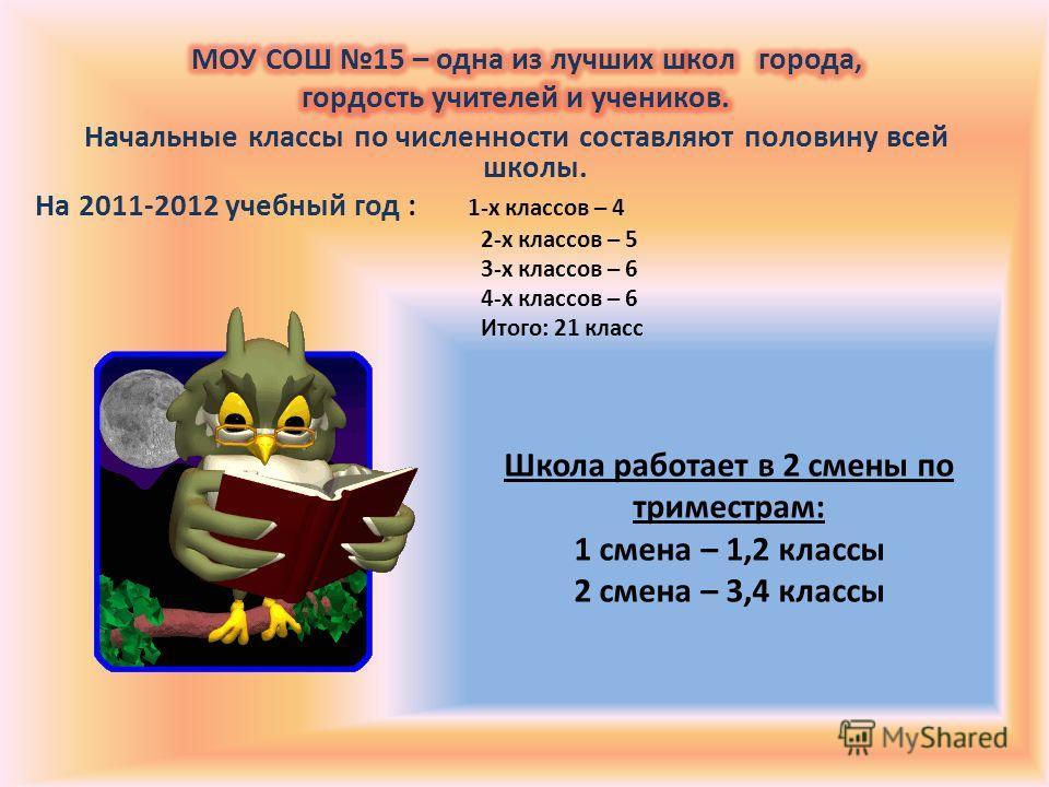 Школа работает в 2 смены по триместрам: 1 смена – 1,2 классы 2 смена – 3,4 классы