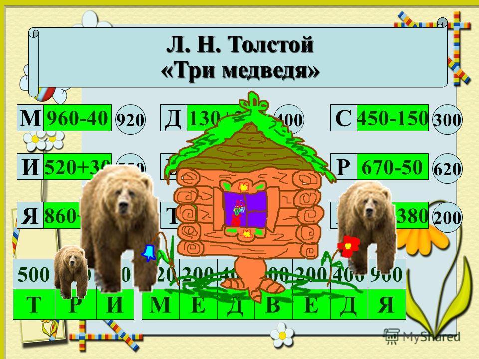Расшифруй название сказки. Кто её написал? 960-40 520+30 860+40250+250 180+420 130+270 580-380 670-50 450-150 920 550 900500 600 400 200 620 300 М И Я Д В ТЕ Р С 200920550200600400 Р ИМЕДВЕ 900 ДЯ Т 500620 Л. Н. Толстой «Три медведя»