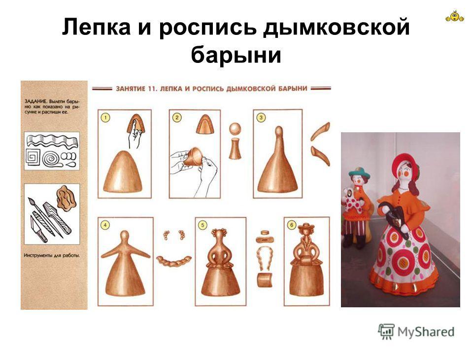 Лепка и роспись дымковской барыни