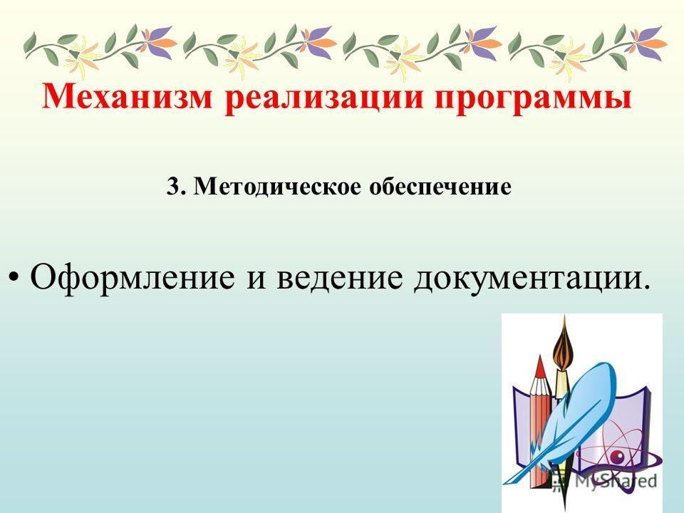 Механизм реализации программы Оформление и ведение документации. 3. Методическое обеспечение