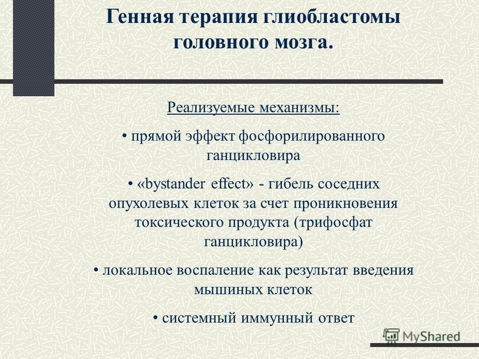 Генная терапия глиобластомы головного мозга. Реализуемые механизмы: прямой эффект фосфорилированного ганцикловира «bystander effect» - гибель соседних опухолевых клеток за счет проникновения токсического продукта (трифосфат ганцикловира) локальное во