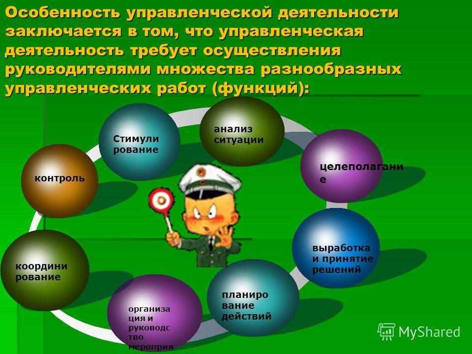 Особенность управленческой деятельности заключается в том, что управленческая деятельность требует осуществления руководителями множества разнообразных управленческих работ (функций): контроль Стимули рование организа ция и руководс тво мероприя тиям