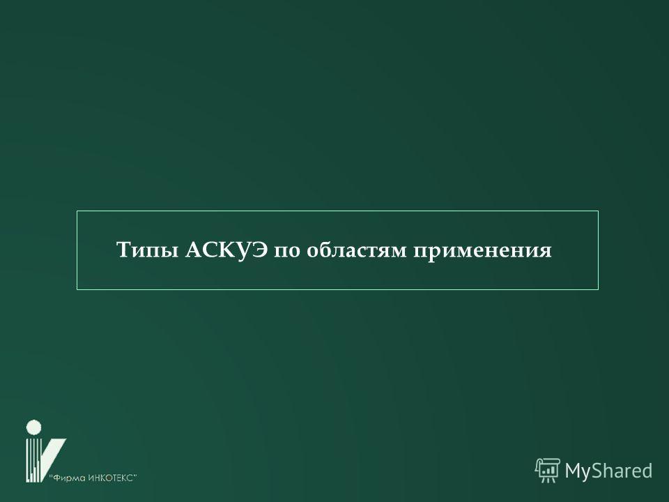 Типы АСКУЭ по областям применения