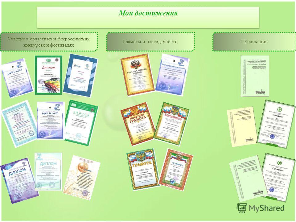 а Мои достижения Участие в областных и Всероссийских конкурсах и фестивалях Грамоты и благодарностиПубликации