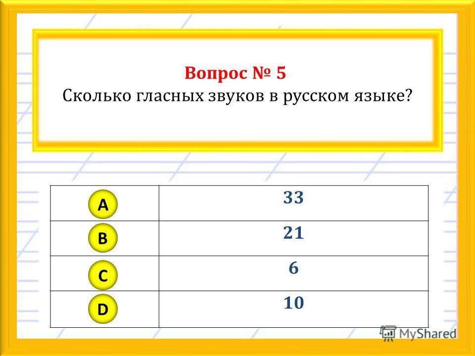 Вопрос 5 Сколько гласных звуков в русском языке? 33 21 6 10 A B C D