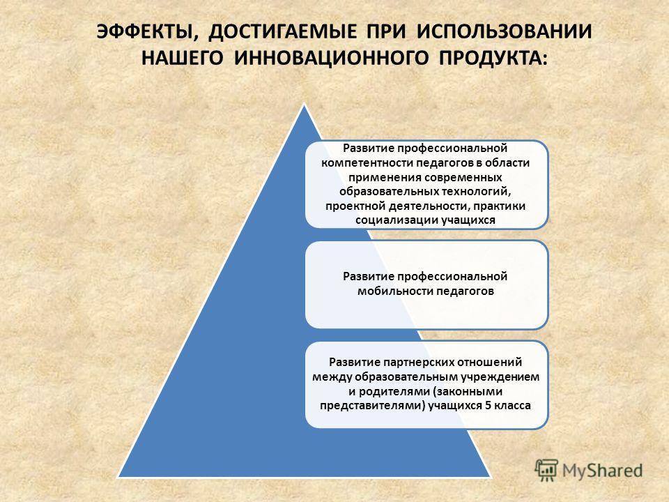 ЭФФЕКТЫ, ДОСТИГАЕМЫЕ ПРИ ИСПОЛЬЗОВАНИИ НАШЕГО ИННОВАЦИОННОГО ПРОДУКТА: Развитие профессиональной компетентности педагогов в области применения современных образовательных технологий, проектной деятельности, практики социализации учащихся Развитие про