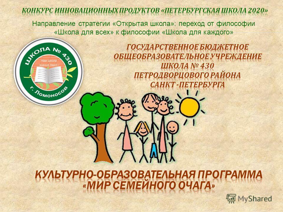 Направление стратегии «Открытая школа»: переход от философии «Школа для всех» к философии «Школа для каждого»